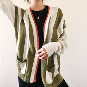 Lacoste Chemise Vintage Striped Cardigan Green L